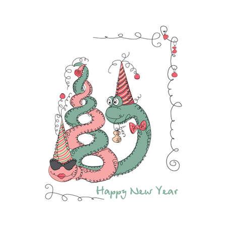 universal love: Vector dibujado a mano rom�ntica tarjeta de moda universal, con personajes serpiente linda. Dise�o del Doodle del amor de A�o Nuevo, Navidad, invitaciones de la fiesta, d�as de fiesta