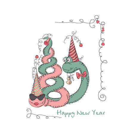 universal love: Vector Hand drawn romantic universal trendy card with characters cute snake. Doodle love Design for New Year,  Christmas,  party invitations, holidays