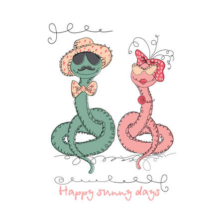 universal love: Vector Hand drawn romantic universal trendy card with characters hipster snake. Doodle love Design for Wedding, marriage, bridal, birthday, Valentines day, party invitations, holidays Vectores