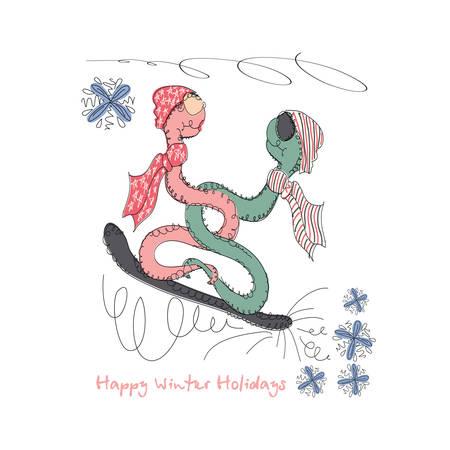 universal love: Vector dibujado a mano romántica tarjeta de moda universal, con la serpiente caracteres inconformista. Diseño amor del Doodle de la boda, boda, nupcial, cumpleaños, día de San Valentín, invitaciones de la fiesta de invierno, días de fiesta