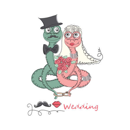 universal love: Vector Hand drawn romantic universal trendy card with characters cute hipster snake. Doodle love Design for Wedding, marriage, bridal, Valentines day, party invitations