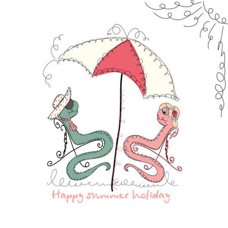 universal love: Vector Hand drawn romantic universal trendy card with characters cute hipster snake. Doodle love Design for Wedding, marriage, bridal, birthday, Valentines day, summer party invitations, holidays Vectores