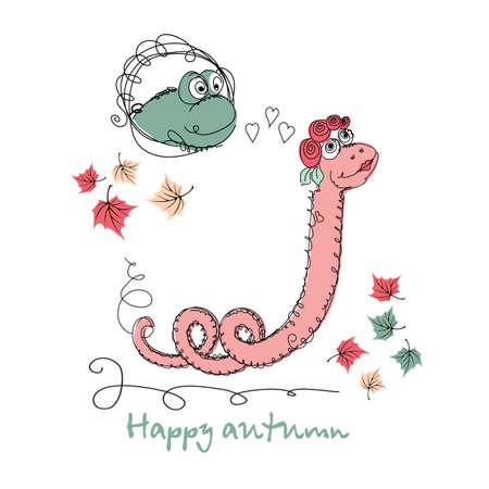 universal love: Vector dibujado a mano romántica tarjeta de moda universal, con personajes serpiente linda. Diseño amor del Doodle de la boda, boda, nupcial, cumpleaños, día de San Valentín, invitaciones de la fiesta del otoño, días de fiesta