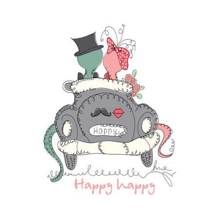 universal love: Vector dibujado a mano rom�ntica tarjeta de moda universal, con personajes serpiente linda inconformista. Dise�o amor del Doodle de la boda, boda, nupcial, cumplea�os, d�a de San Valent�n, invitaciones de la fiesta, d�as de fiesta