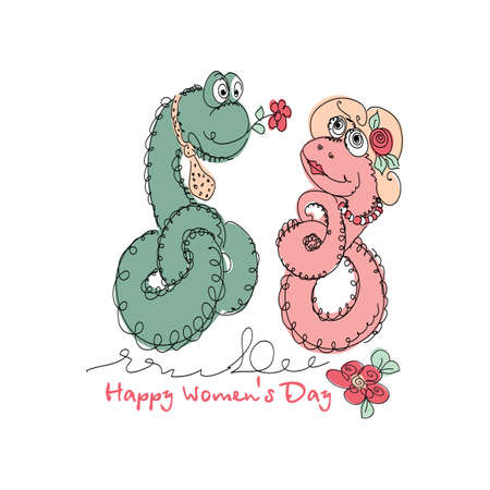 universal love: Vector Hand drawn romantic universal trendy card with characters cute snake. Doodle love Design for Wedding, marriage, bridal, birthday, Valentines day, party invitations, holidays