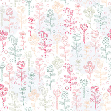 leaf illustration: Vector Ornate seamless pattern with the stylized flowers. Seamless pattern can be used for wallpaper, pattern fills, web page background, surface textures.