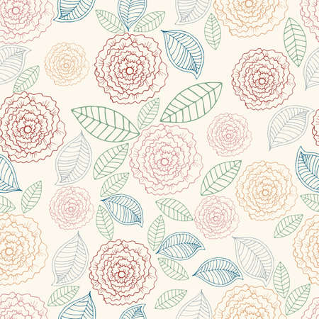 pastel shades: Vector hand drawn line floral seamless pattern. Colorful spring or summer background with rose and leaf in pastel shades Illustration