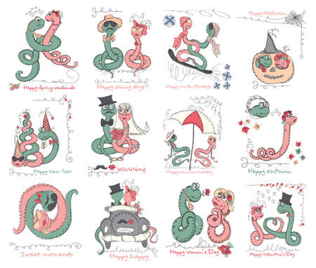 universal love: Vector set Hand drawn romantic universal trendy card with characters cute snake. Doodle love Design for Wedding, marriage, bridal, birthday, Valentines day, party invitations, holidays
