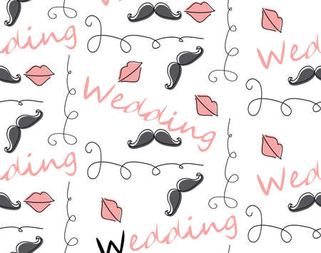 doodle text: Vector doodle text Seamless Pattern Background for wedding
