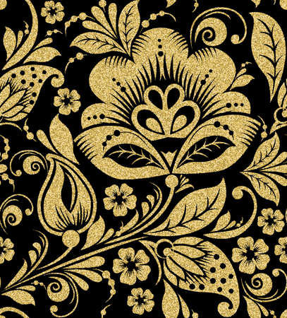 khokhloma: Vector Gold glittering Khokhloma seamless pattern. Gold floral background background Illustration
