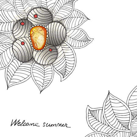 jewerly: Vector template floral universal card with flower, leaves, jewerly. Hand drawn zen tangle texture with jem. black and white Illustration