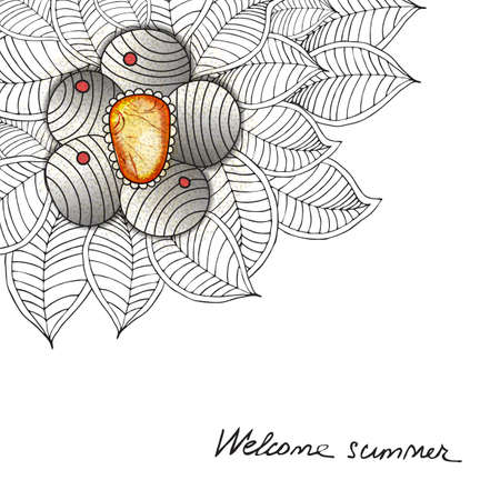 jewerly: Vector Hand drawn universal card with flower, leaf and jewerly.
