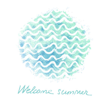 water element: Vector watercolor hand drawn background with sea waves. Summer universal card with doodle watercolor texture Illustration