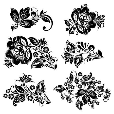 black roses: Vector Vintage floral set. Black silhouette of a stylized flowers on a white background. Collection