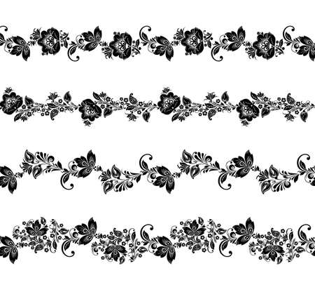 isolated flower: Seamless floral borders elements. Romantic vector Flower set. Illustration