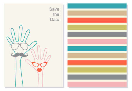 invation: Funny greeting card, booklet. Creative invation card for weeding or any celebration.  The head in the form of a green and red hands with glasses. Save the data phrase on the background. Vector.