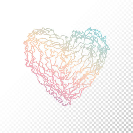Vector Ombre print colorful heart. Valentines day. ombre heart on White background.