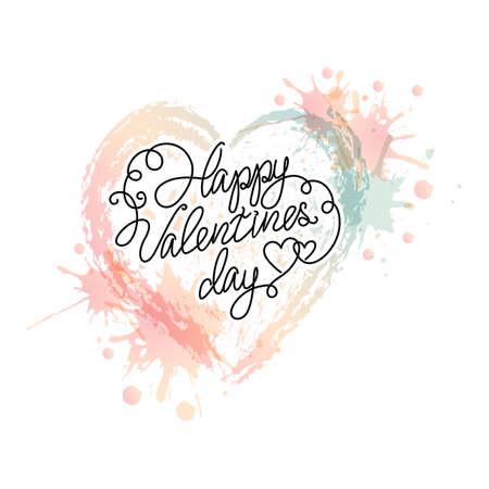 blots: Vector watercolour heart with splash. Colour blots. Valentines day phrase. Illustration