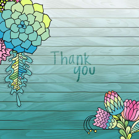 ombre: Vector Colorful flowers succulents on turquoise Wooden ombre painted planks. Thank you background