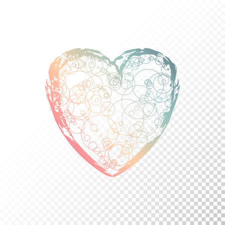 ombre: Vector hand drawn ombre heart. Valentines day. Colourful paint. Illustration