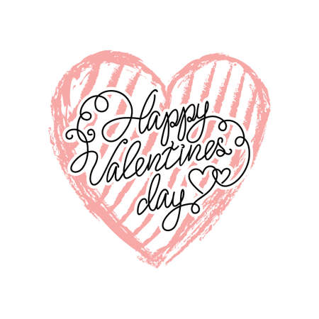 Vector Valentines day icon heart isolated on white background. Hand drawn. Happy valentines day lettering
