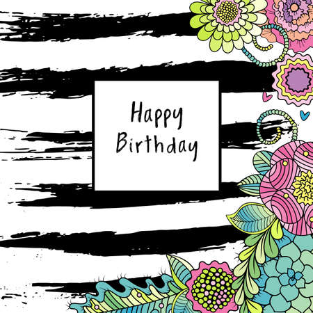 striped texture: Vector birthday card with colorful flower, succulents pants and ink black striped texture. Vector party invitation template with floral elements Illustration