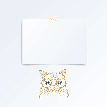 folded hand: Leaflet folded in half isolated on white background, hand drawn cat under it.