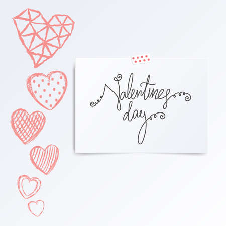 folded hand: Folded in half leaflet with valentines day quote. Mock up template vector illustration isolated on white. Set of hand drawn red hearts with cells, polka dots, triangles, lines on white background. Greeting card concept.