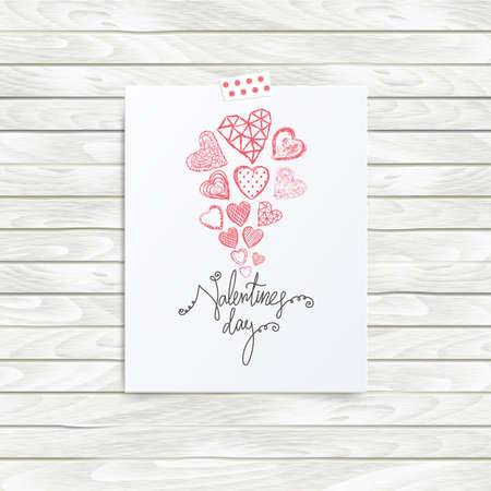 folded hand: Folded in half sheet of paper with valentines day quote and set of red hearts. Mock up template vector illustration isolated on wooden background. Set of hand drawn red hearts with cells, polka dots, triangles, lines. Flyer, booklet, poster concept.