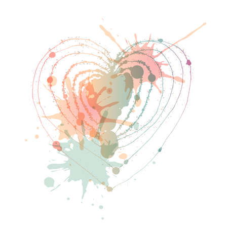 aquarelle: Vector heart with blots. Aquarelle blots. Valentines day. White background