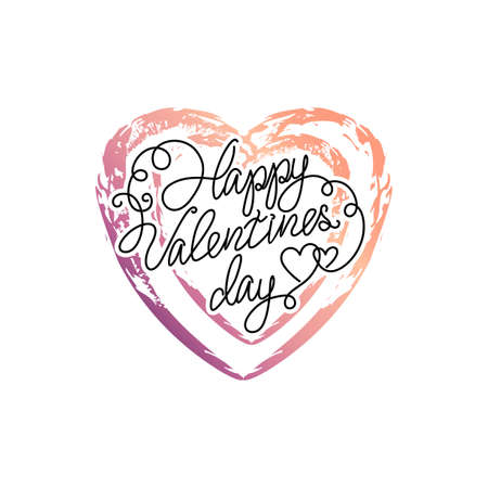 colorful heart: Vector gradient heart. Doodle paint colorful heart. Valentines day quote. Illustration