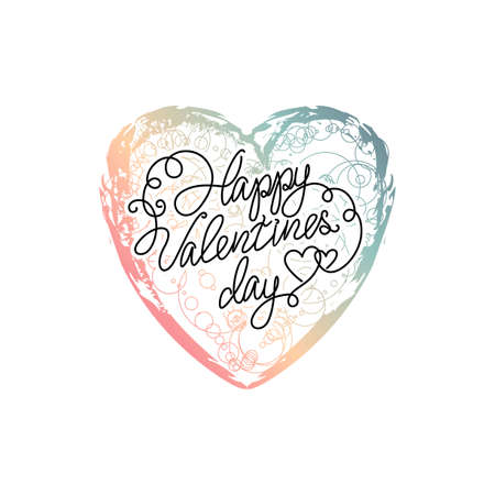 ombre: Vector hand drawn ombre heart. Happy valentines day phrase. Colourful paint.