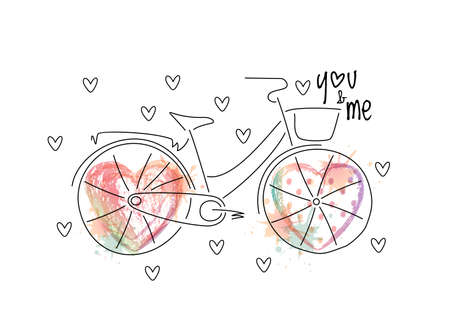 illustrated: Abstract vintage bicycle, wheels illustrated with vector ombre print hearts with splashes and polka dots. White background. Illustration