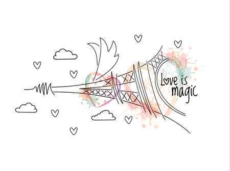 ombre: Abstract flying Eiffel Tower with wings illustrated with vector ombre print hearts with aquarelle blots and polka dots. Love is magic phrase. White background. Valentines day greeting card.