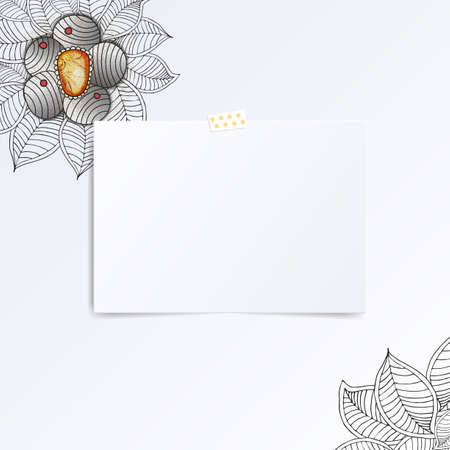 folded hand: Sheet of paper folded in half with hand drawn flower in the coner. Mock Up Template. Vector illustration