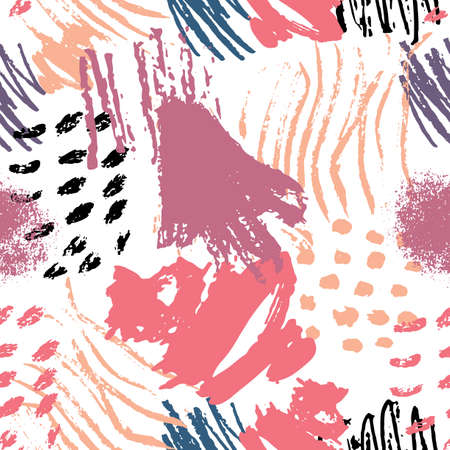 paint swatch: Vector colorful abstract scribbles seamless pattern. Color abstract painted Mark Making.
