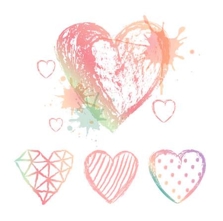 aquarelle: Vector set hand drawn hearts. Colour aquarelle blots.