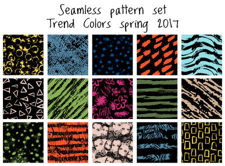 fabric patterns: Vector seamless pattern set. Trend colors spring