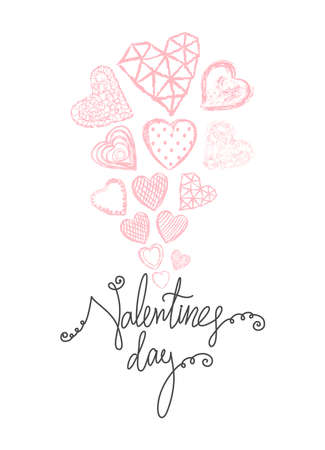 Vector Holiday background with red hand drawn hearts. Valentines day card