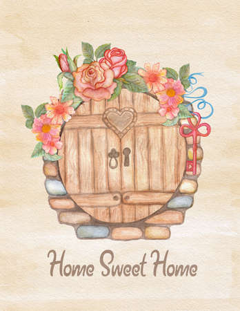 house warming: Watercolor greeting card, house warming or wedding. Hand drawn illustration with flower wreath, key, stone wall and wooden door