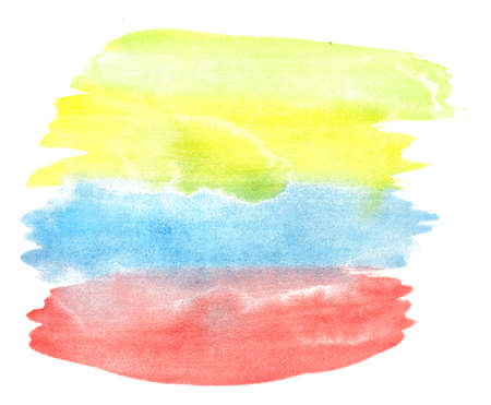 Watercolor hand drawn colorful brush paint strokes. Abstract multicolor background