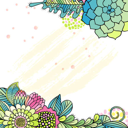 invation: Flower background with hand drawn floral bouquets. Illustration for greeting, invation and wedding cards.