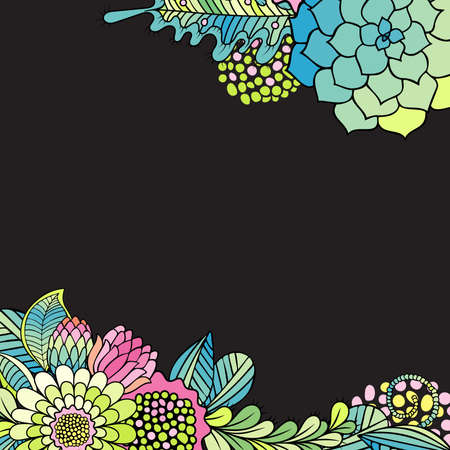 invation: Floral background with hand drawn succulent bouquets. Illustration for greeting, invation and wedding cards.
