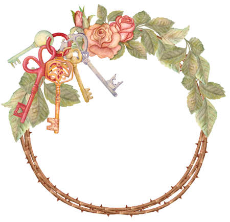 Watercolor rose wreath with keys, housewarming. Hand drawn illustration Stock Photo