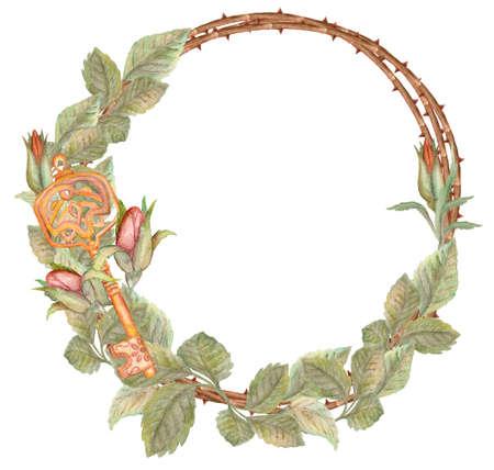 Couronne de rose aquarelle avec clé dessinée à la main. Modèle pour le réchauffement de la maison, mariage, carte de voeux ou d'invitation