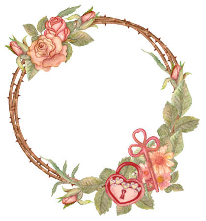 Watercolor floral wreath with key and padlock in form of heart. Watercolor flower wreath with hand drawn key. Pattern for house warming, wedding, greeting or invitation card