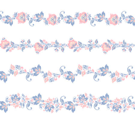 crocus: Seamless floral borders elements. Romantic Flower set. EPS 8 Stock Photo