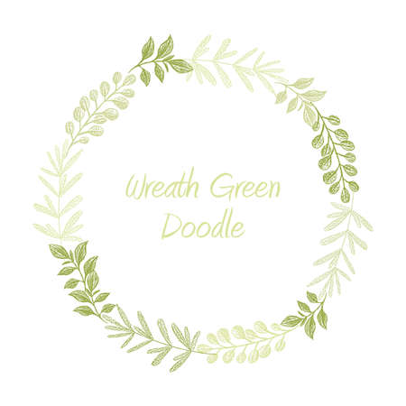 Green hand drawn leaves wreath vector, greeting, invitation or wedding card template. Greenery spring floral frame Illustration