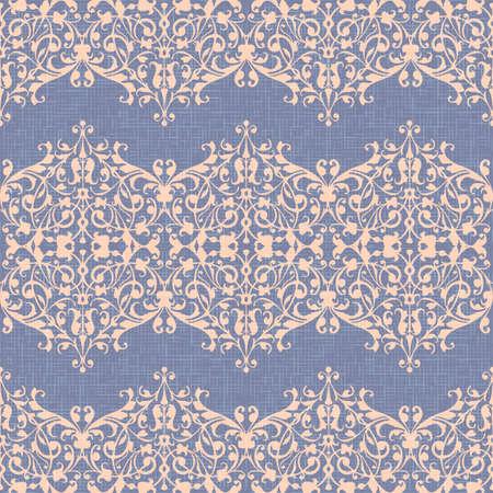 Ornamento del damasco, vector inconsútil violeta del fondo del lino, remolinos abstractos amarillentos, estilo del vintage