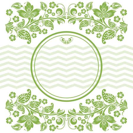 Fondo Redondeado Con Hojas Verdes De Primavera Y Flores De Color ...